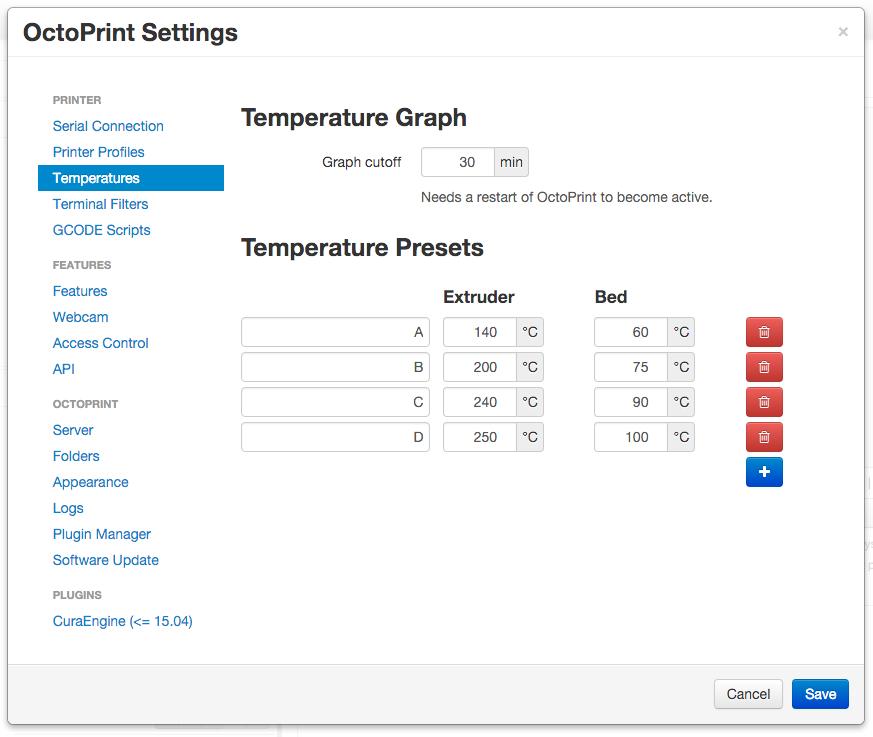 Configuring Octoprint - Thrinter
